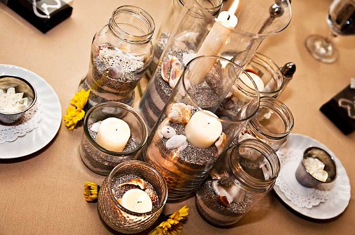 candle and sand vase arrangement