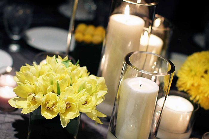 candles in vases
