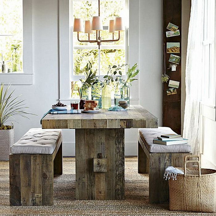 rustic table with vase arrangements