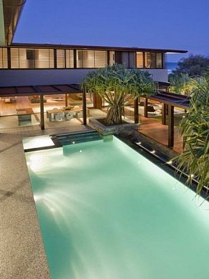 stunning pool house