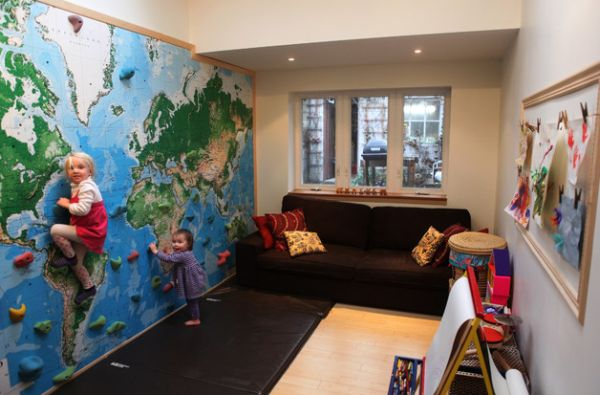 A climbing wall with right protection is a great idea in the kids' playroom