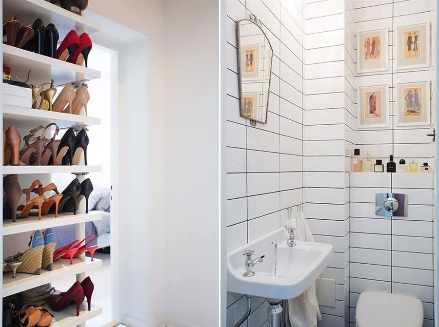 A shoe closet design in white