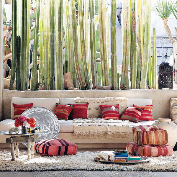 Add color to the vibrant outdoor space with some floor pillows