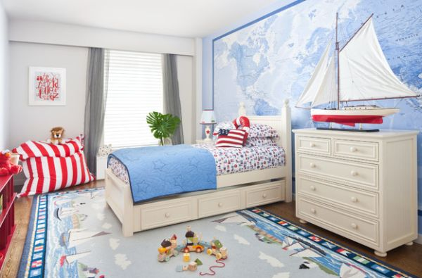 Add the right colors along with the map murals and wallpaper to attain the nautical look
