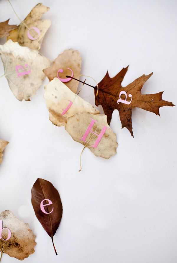 Alphabet letter leaves Fabulous Fall Party Ideas