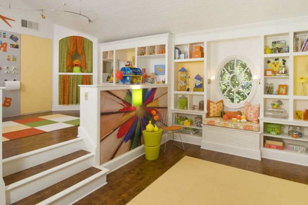 40 kids playroom design ideas that usher in colorful joy for Playroom living room combination