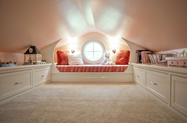 Attic playroom idea with a fabulous round window and cute decor