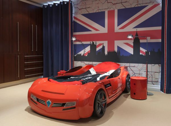 Auto themed kids bedroom with Limited Edition Componibili Side Table in Red
