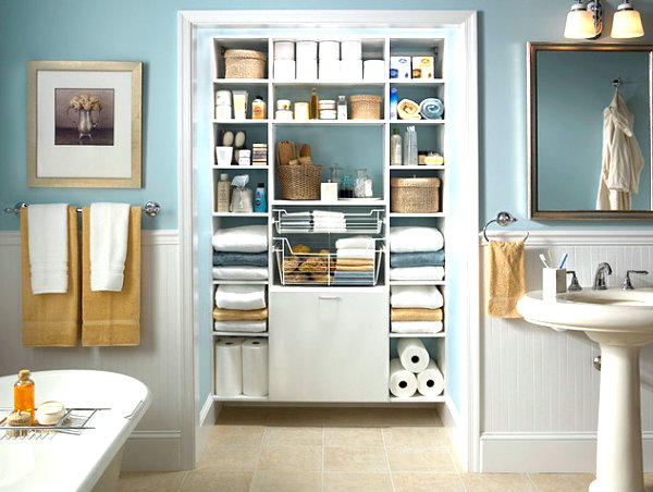 Bathroom closet that maximizes storage decoist for Bathroom organization ideas