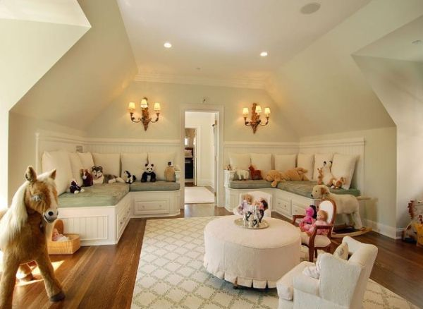 Beautiful girls' playroom idea with plush seating