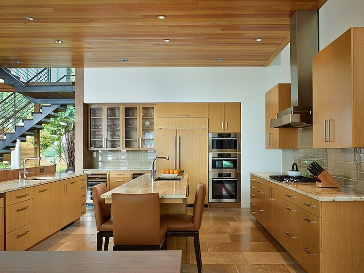 Beautiful modern kitchen with dining space