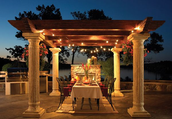 Beautiful outdoor dining space under the pergola
