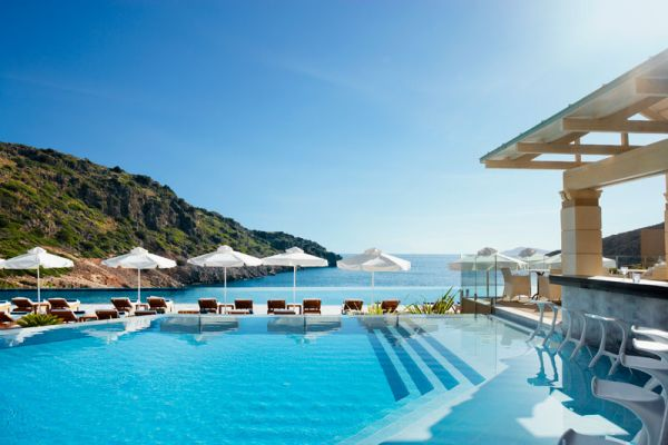 Beautiful pool and bar at Daios Cove Luxury Resort