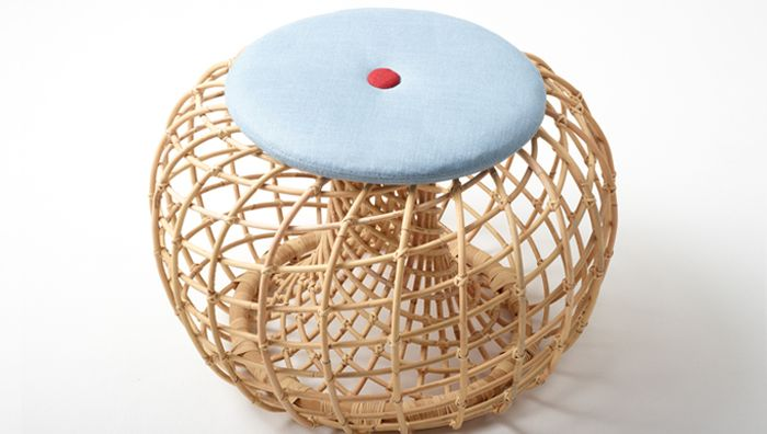 Beautifully woven rattan footstool