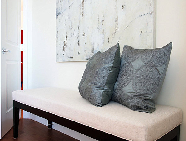 Bedroom bench with throw pillows