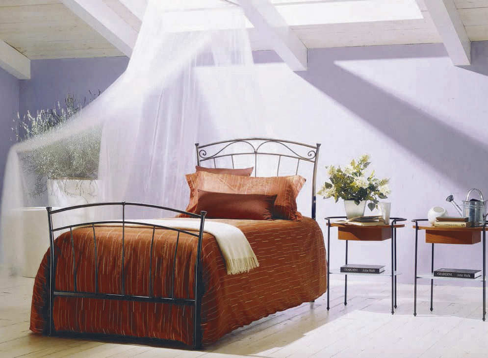 Blue Bontempi Dora Wrought Iron Bed with Orange Beadspread