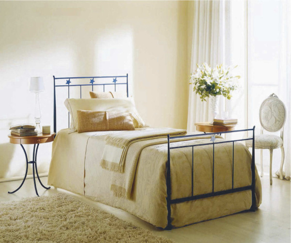 Blue Bontempi Stella Wrought Iron Bed with Yellow Beadspread