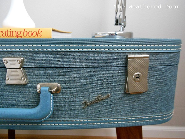 Blue suitcase night table DIY