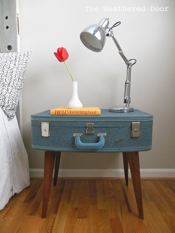 Blue suitcase nightstand