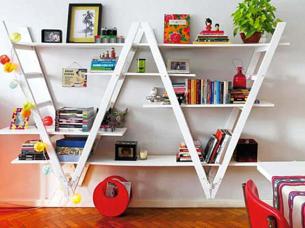 Bookshelf made from ladders Organize Your Space with DIY Bookshelves