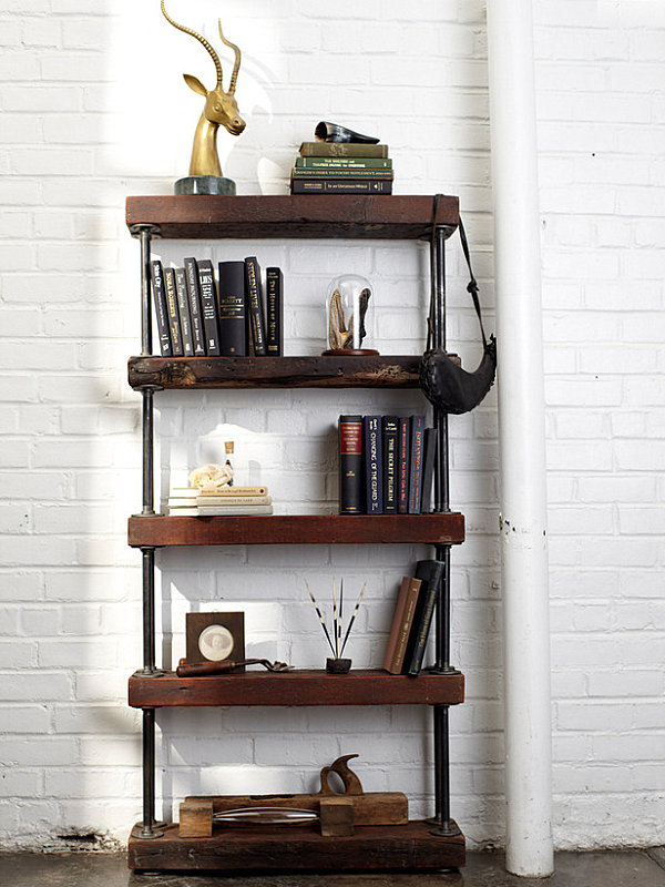Bookshelf of wood and galvanized piping