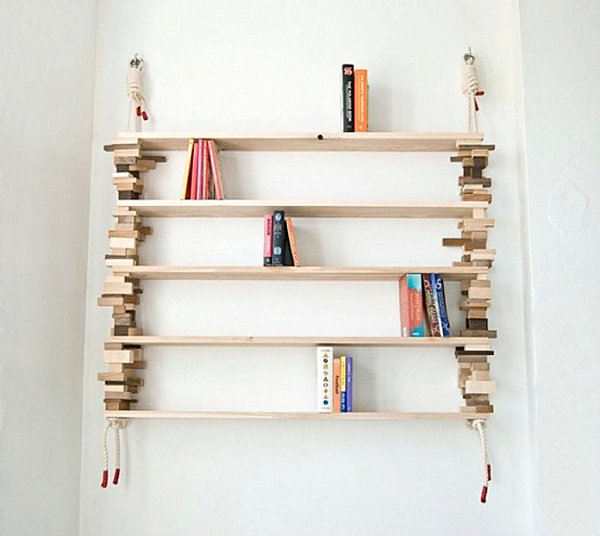 Bookshelf with wooden blocks
