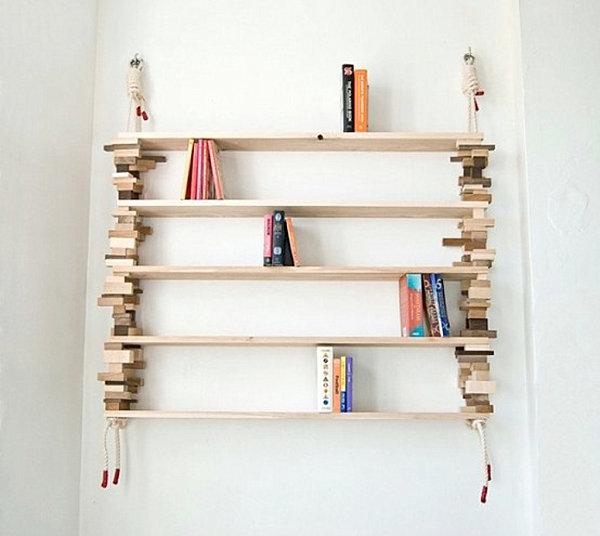 Bookshelf with wooden blocks