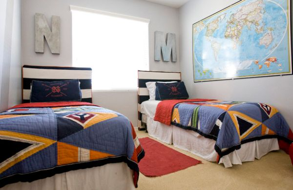 Boys' bedroom with twin beds and a nautical theme