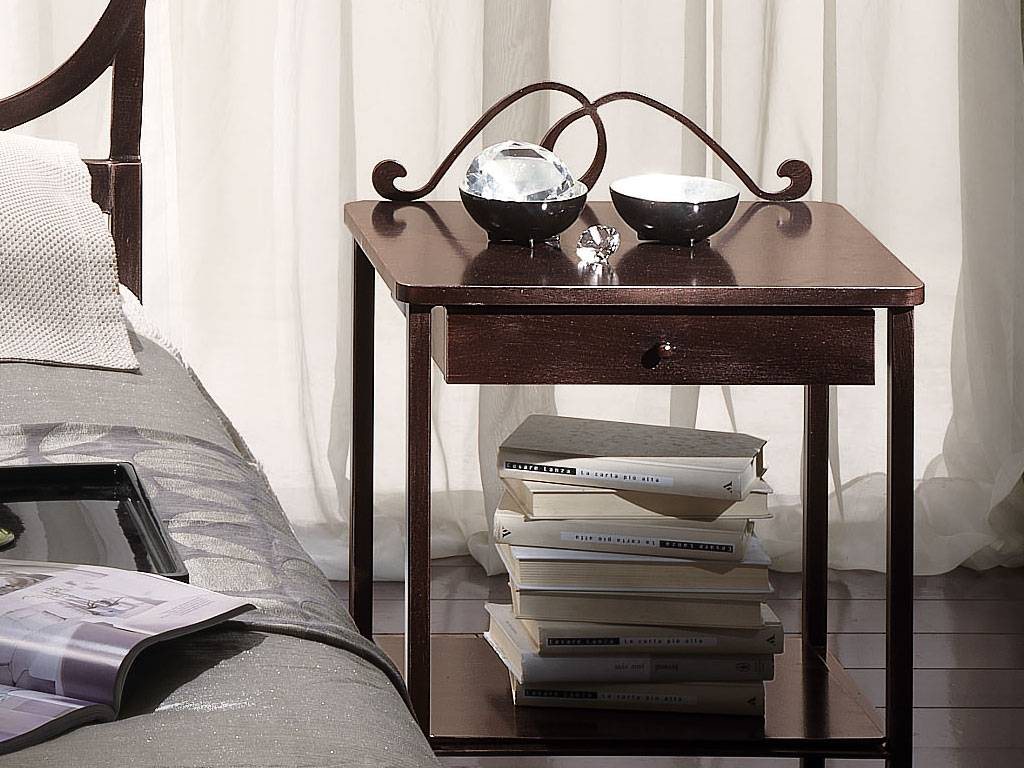 Bradley wrought iron and wood bedside table in brown