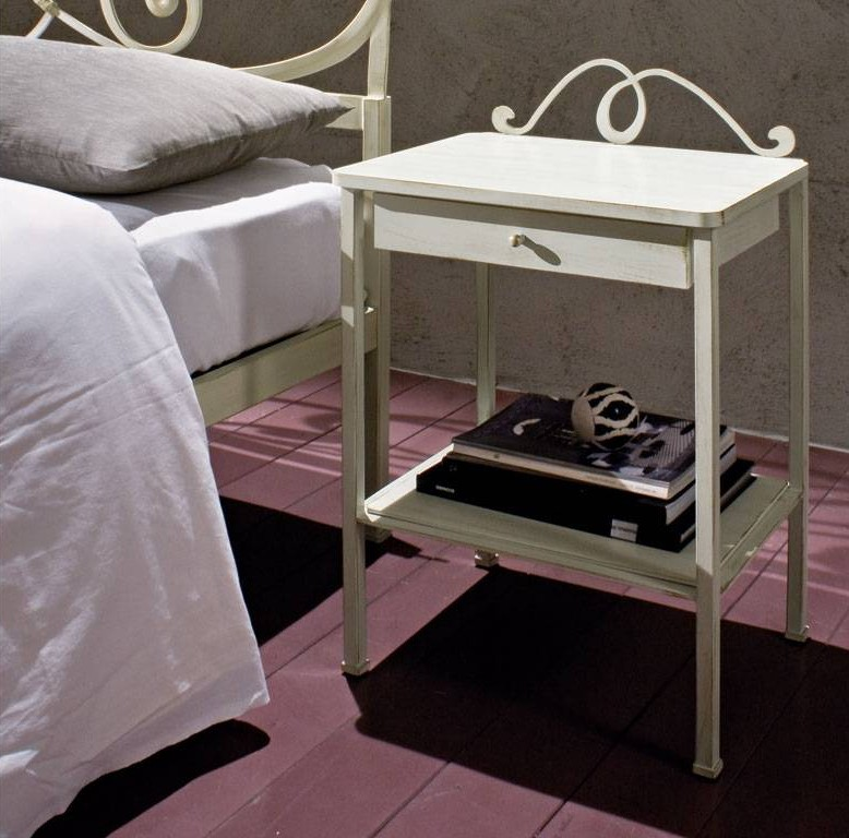 Bradley wrought iron and wood bedside table in white