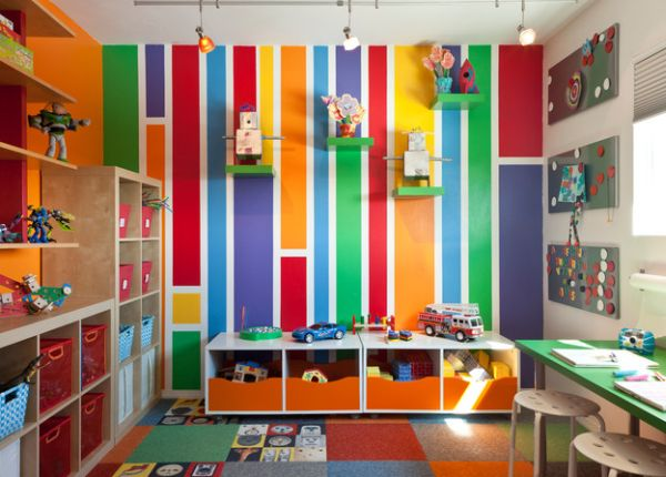 Bright and vibrant kids' playroom sports a colorful look