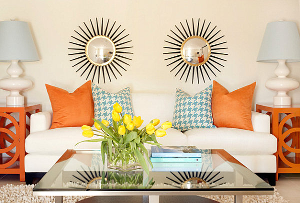 Bright orange side tables