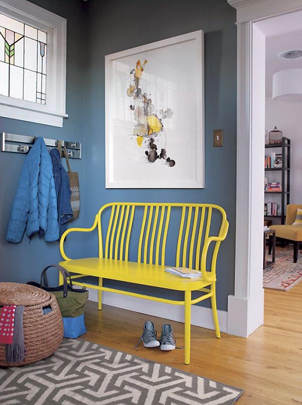 Bright yellow bench