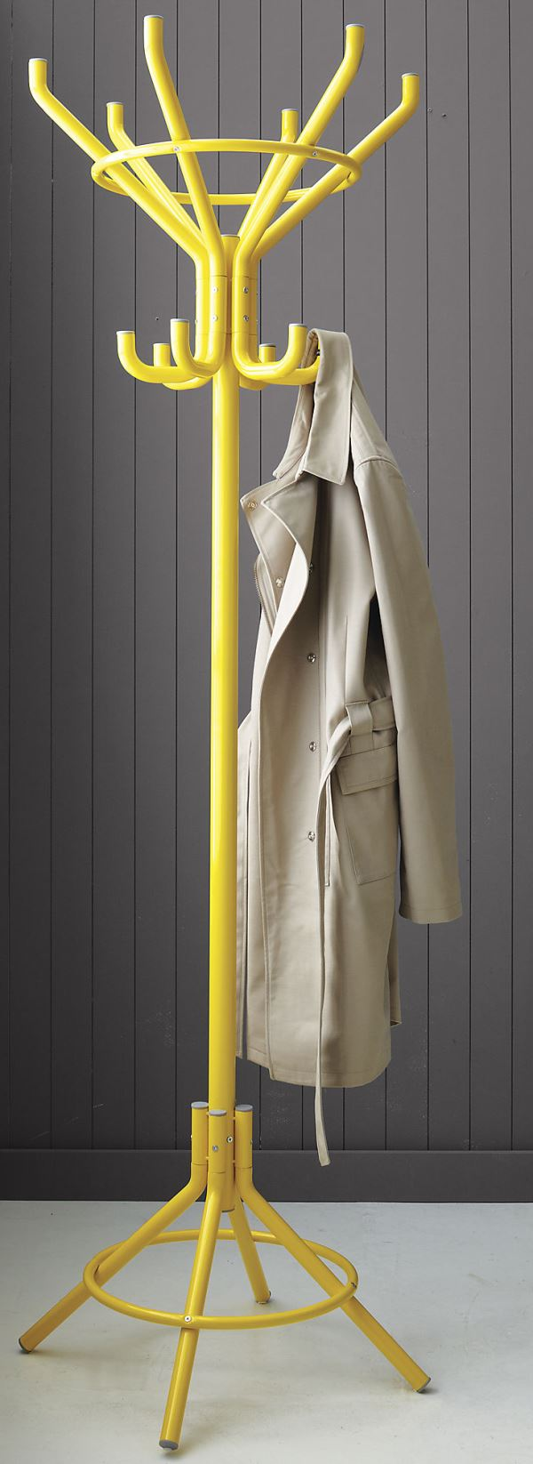 Bright yellow coat rack