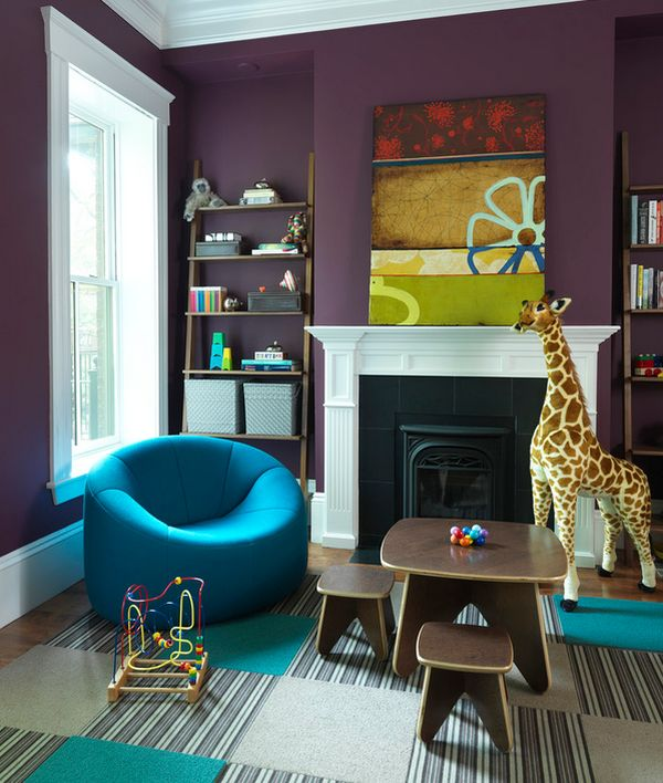 Carpet tile and ladder shelf add sophistication to the playroom