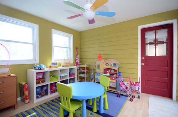 view in gallery charming little fan accentuates the color scheme of the playroom - Playroom Design Ideas