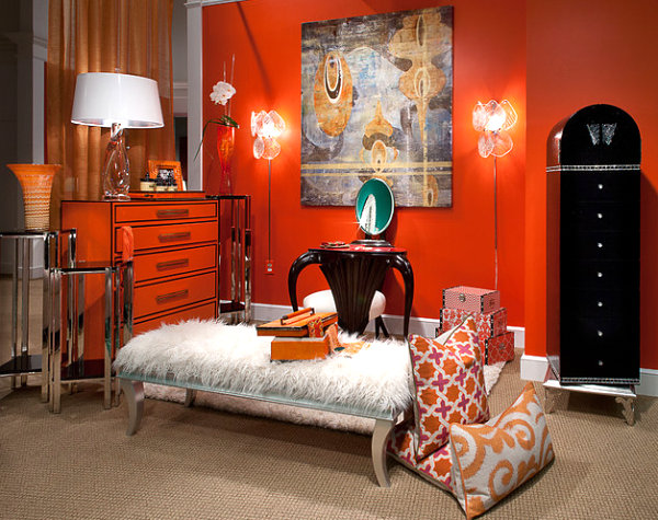 Chic orange dresser in a vibrant room