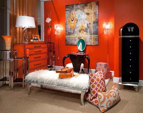 Chic orange dresser in a vibrant room