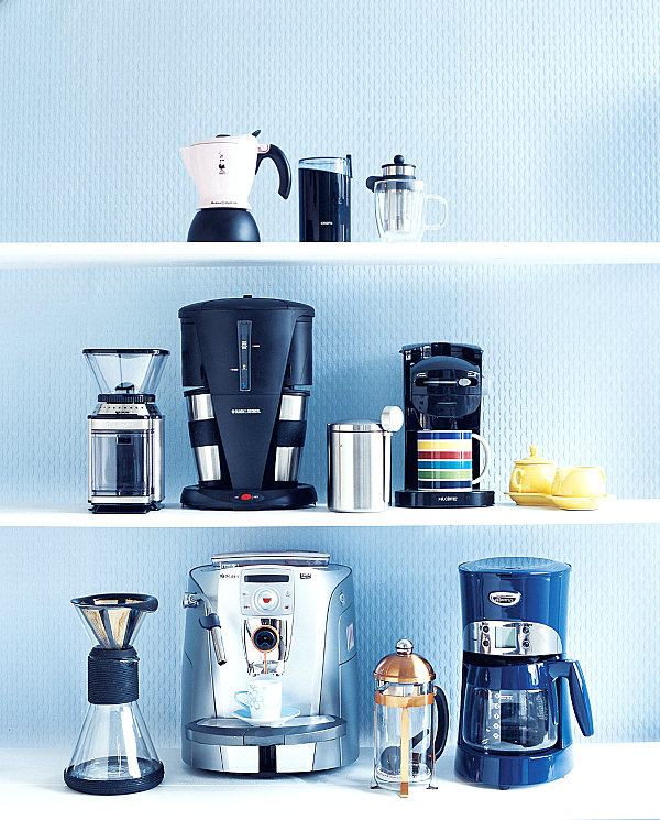 Coffee gadgets on shelving