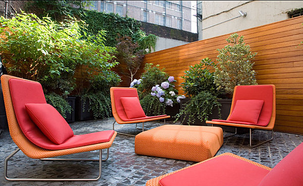Colorful garden chairs in a modern yard