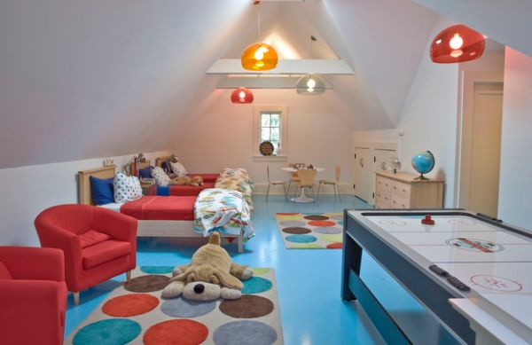 Colorful kids' room uses multiple FLY pendant lights