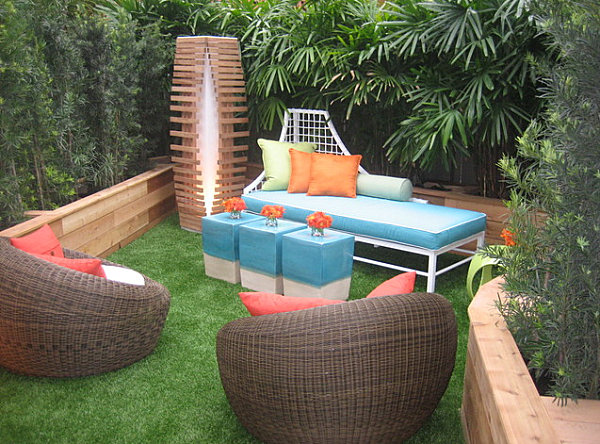 Colorful seating in a welcoming outdoor space