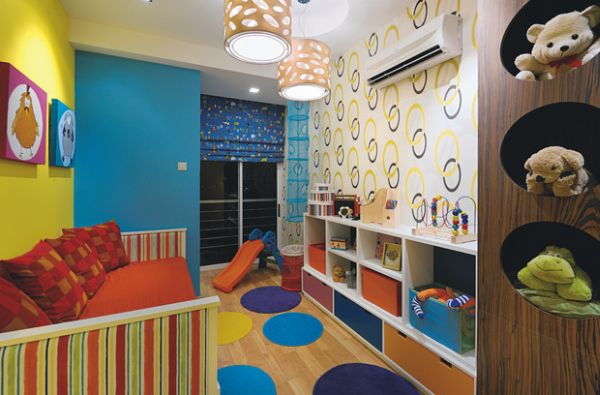 View in gallery Colorful wallpaper idea for kids' playroom