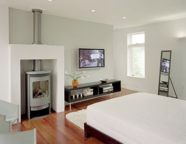 View In Gallery Compact Gas Woodstove The Bedroom