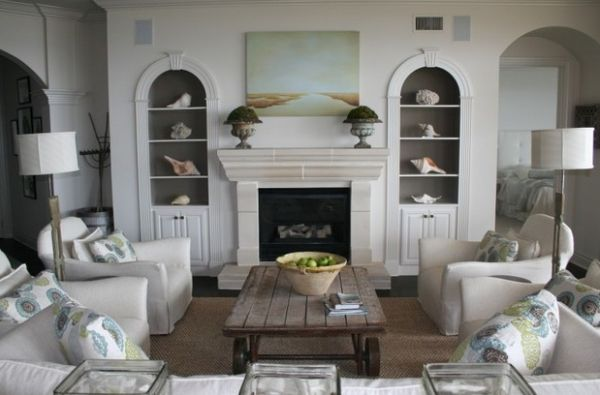 view in gallery conch shells and starfish add a subtle nautical touch to this living room - Nautical Design Ideas