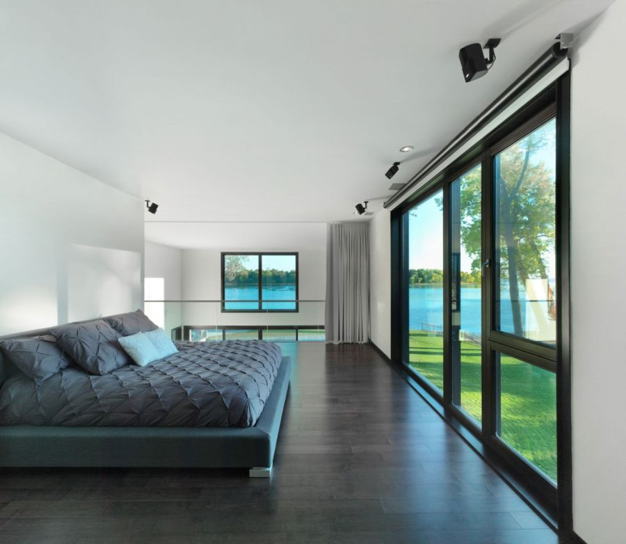 Contemporary bedroom inw hite and gray