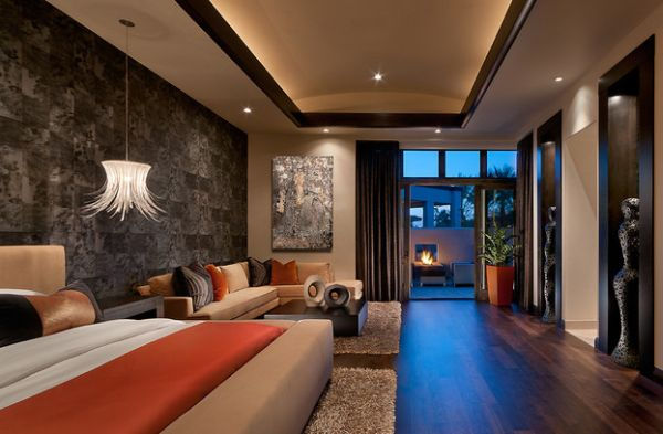 Contemporary bedroom with bold bedside lighting idea