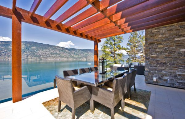 Cool pergola provides plenty of shade as you enjoy the lovely view