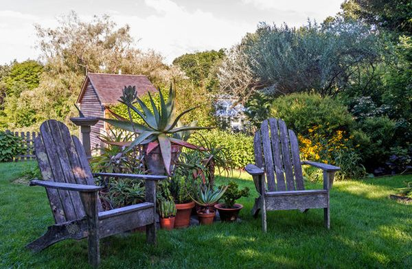 Cool sitting area in the garden with aloes