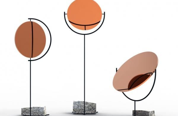 Copper and stone-based mirrors at Gallery Libby Sellers